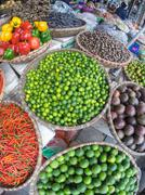 Fruits and vegetables at asian market Stock Photos