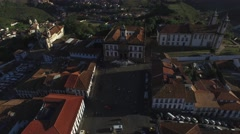 Flying over Tiradentes square in Ouro Preto, Minas Gerais, Brazil Stock Footage