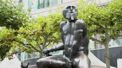David & Goliath Bronze Statue Hauptwache 4k Stock Footage