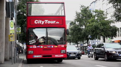 City tour bus in downtown Frankfurt Germany 4k Stock Footage