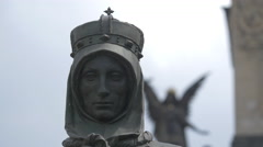 St.Ludmila statue in Wenceslas Square, Prague Stock Footage