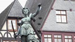 Roemer in downtown Frankfurt Germany with Statue Of Justice 4k Stock Footage