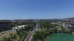 Flying over the Liberty Square in Belo Horizonte, Minas Gerais, Brazil Stock Footage