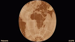 Animated world map in the Polyconic projection. Gradient. Stock Footage
