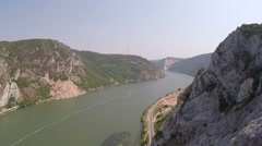 Aerial shot of a very wide Danube river. Stock Footage