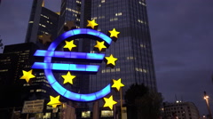 Euro symbol at night in downtown Frankfurt Germany 4k Stock Footage