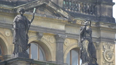 Two statues in front of the National Museum in the New Town of Prague Stock Footage