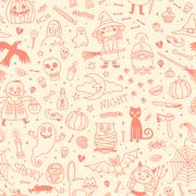 Halloween seamless pattern. Pumpkin, Ghosts, Cats, Skulls, Bats and other Stock Illustration