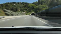 Driving through highway tunnels. South of France. Stock Footage