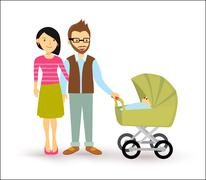 Young couple baby start family newborn people flat - stock illustration