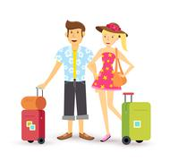 Young couple summer holiday vacation travel summer Stock Illustration