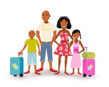 African american family summer vacation travel Stock Illustration
