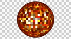 Twinkling Hi-Tech Squares Spinning Globe, Multi Color, Alpha Channel, Loop, HD Stock Footage