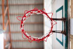 Basketball hoop indoor sport - stock photo