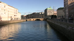View of canal near Brunnsparken in central Gothenburg Stock Footage