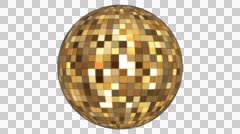 Twinkling Hi-Tech Squares Spinning Globe, Golden, Alpha Channel, Loop, HD Stock Footage