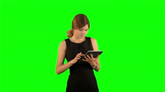 Portrait of a professional business woman with tablet on a Green Screen Stock Footage