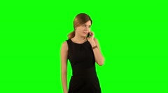 Portrait of smiling business woman phone talking on a Green Screen Stock Footage