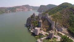 Aerial view of old fortress on the beautiful Danube river. Stock Footage