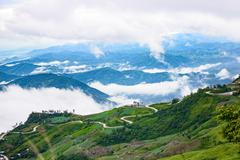 Mountain road at ( phu tubberk) in Phu Hin Rong Kla National Park - stock photo