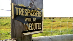 Trespassers Will Be Prosecuted sign Stock Footage