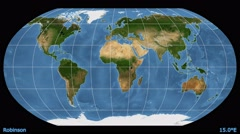 Animated world map in the Robinson projection. Blue Marble raster. Stock Footage