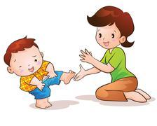 Mom teaches son wear pants Stock Illustration