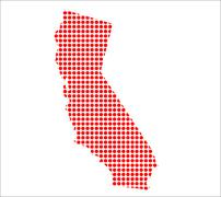 Red Dot Map of California; - stock illustration