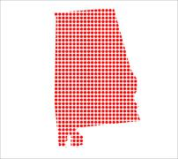 Red Dot Map of Alabama - stock illustration