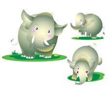 cute elephant naughty - stock illustration