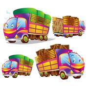 Cute truck cartoon many actions - stock illustration