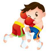 Muaythai fighting actions knee strike Stock Illustration