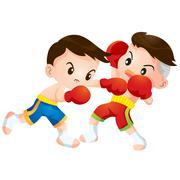 Stock Illustration of muaythai fighting actions hit strike and dodge