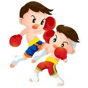 Stock Illustration of muaythai fighting actions knee over strike