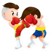 Stock Illustration of muaythai fighting actions high kick strike