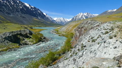 Stock Video Footage of mountain landscape with river in Altay, Russia