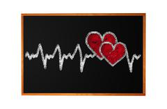 Heartbeat character and design, love heart on a chalkboard Stock Photos
