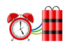 Time bomb with alarm clock detonator. Dynamite. Countdown. - stock photo