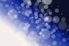 White defocused fairy lights on a graduated blue background - stock illustration