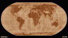 Animated world map in the Robinson projection. Gradient. Stock Footage