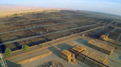 Aerial over a vast cattle slaughterhouse in Central California. Stock Footage