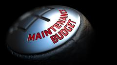 Maintenance Budget on Gear Stick with Red Text - stock illustration