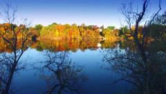 Journey Amid Colorful Autumn Foliage at Rivers Edge Stock Footage
