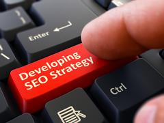 Developing SEO Strategy - Clicking Red Keyboard Button Stock Illustration