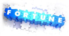 Fortune - White Word on Blue Puzzles - stock illustration