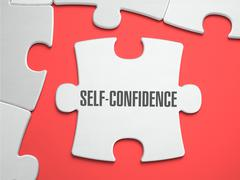 Self-Confidence - Puzzle on the Place of Missing Pieces - stock illustration