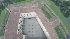 Aerial view of Fagaras Fortress Stock Footage