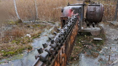 Chain saw in the quarry. Russia. 4K Stock Footage