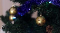 Bokeh light and golden christmas balls - stock footage