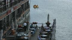 Grosseto Marina Restaurant on Vltava River, Prague Stock Footage